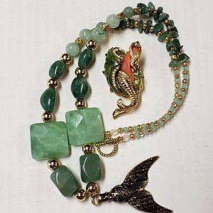 OOAK Aventurine Mermaid Necklace & Brooch